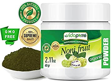 Polvo de fruta orgánico NONI. Pure RAW Superfood Gluten Free Non GMO para salud,