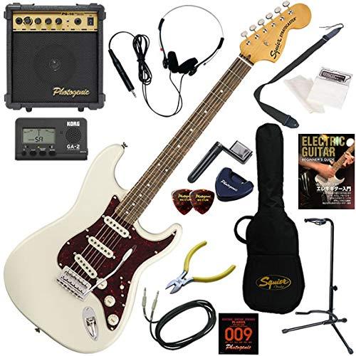 Squier エレキギター 初心者 入門 70年代のラージヘッド仕様のストラト。 10wアンプが入ったスタンダード15点セット Classic Vibe '70s Stratocaster/OWT(オリンピックホワイト)  OWT(オリンピックホワイト) B07QNGHGYD