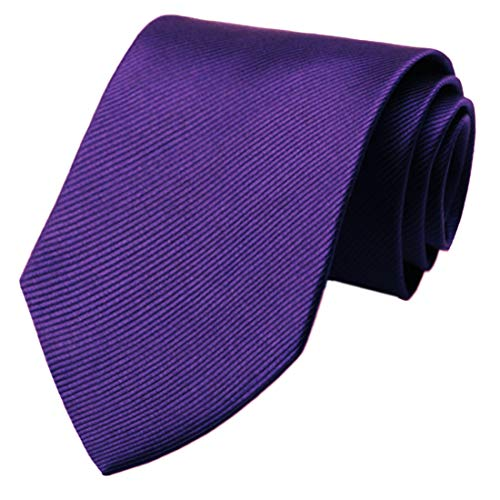 KissTies Mens Purple Tie Solid Wedding Necktie + Gift Box