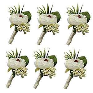 6 Pieces/lot Groom Boutonniere Man Buttonholes Wedding Flowers Party Decoration (Ivory) 57