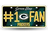 Zipperstop Green Bay Packers NFL #1 Fan Metal License Plate