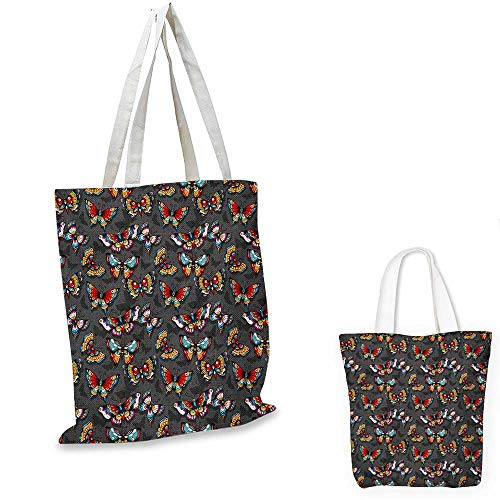 Butterfly non woven shopping bag Cartoon Style Vibrant Color Animals on Dark Background with Shadows Retro fruit shopping bag Grey Multicolor. 14