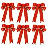 Red Glitter Christmas Bow Xmas Decorations Ribbon Bows Party Ornaments, 6 pcs