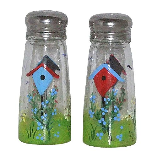 - Salt & Pepper Shakers with Birdhouse Design. Hand Painted.