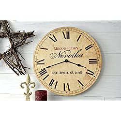 Personalized Antique Finish Clock 13 or 18 Diameter by MRC Wood Products