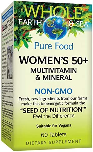 Whole Earth Sea from Natural Factors, Women s 50 Multivitamin Mineral, Whole Food Supplement, Vegan and Gluten Free, 60 Tablets 30 Servings
