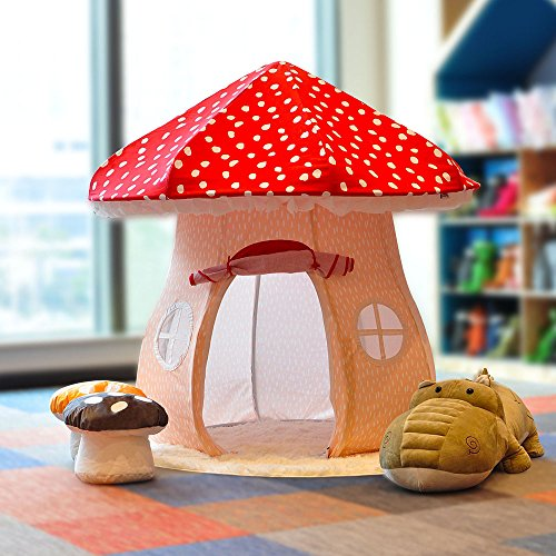 ASWEETS Mushroom Home Cotton Canvas Play Tent, Red/Tan by Asweets (Image #3)