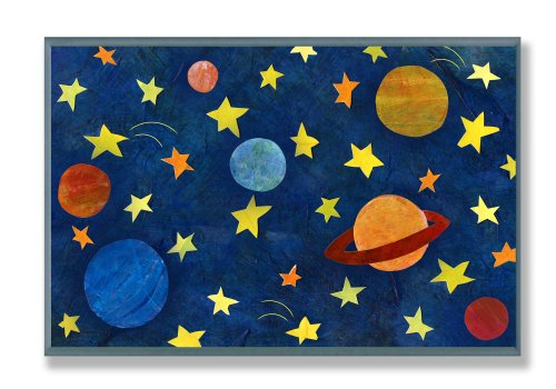 Wall Art Rocket (The Kids Room by Stupell Planets and Stars Rectangle Wall Plaque)