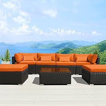 Elegant Modenzi 7C U Outdoor Sectional Patio Furniture Espresso Brown Wicker Sofa  Set (Orange) Design Ideas