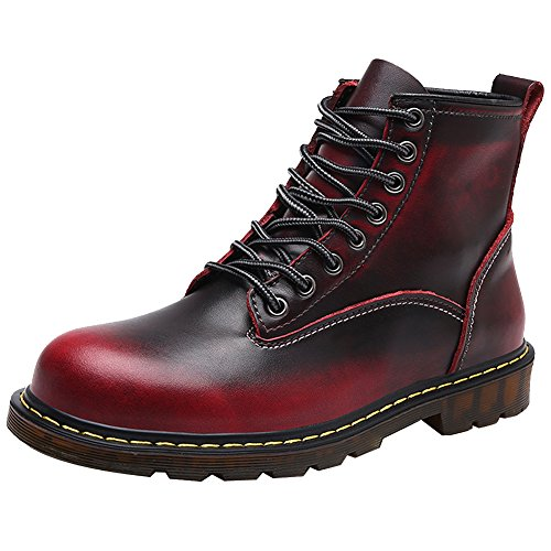 Jamron Men Vintage Ankle Martin Boots Chukka Boots Durable Combat Boots Motorcycle Boots Burgundy SN01807 US11 -