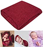 Bassion Newborn Photography Props Newborn Baby Stretch Long Ripple Wrap Yarn Cloth Blanket, Red Wine, One Size