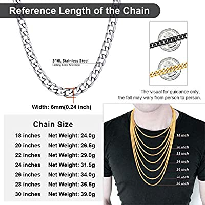 with Gift Box ChainsPro Men 4//6//9//13mm Cuban Link Chain,Hip Hop Jewelry,316L Stainless Steel//18K Gold Plated//Black-