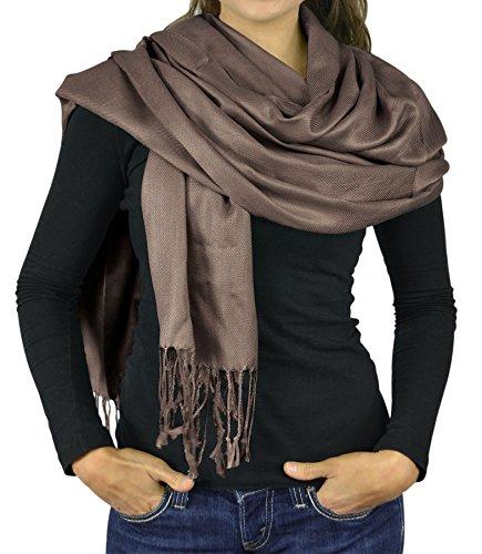 Women Scarf Viscose Faux Silk Pashmina Scarves For Women Stole Shawl Wraps - Brown - Scarf Viscose Brown