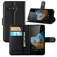 Lumia 550 Case, Fettion Fettion Premium PU Leather Wallet Flip Phone Protective Case Cover with Card Slots for Microsoft Lumia 550 Smartphone (Black)