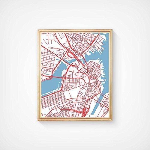 Boston Massachusetts Street City Map Art Print Unique Decor - aerial view (Party City Ma)