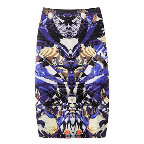 Yuanu Femme Doux Confortable Jupe Courte Serre Mode Impression Numrique Zipper Jupe Moulante Impression Style 22