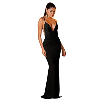 Nuevas señoras negro Sumir cuello en V bajo parte trasera abierta vestido de cóctel vestido largo