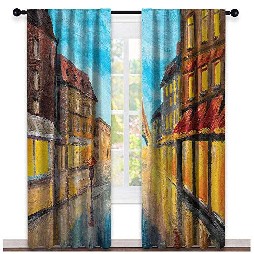hengshu Eiffel Tower, Window Treatments Curtains Valance, Couple with Umbrella on Historical Street to Eiffel Tower Paris Art, Curtains Kids Bedroom, W96 x L108 Inch Orange Blue Brown