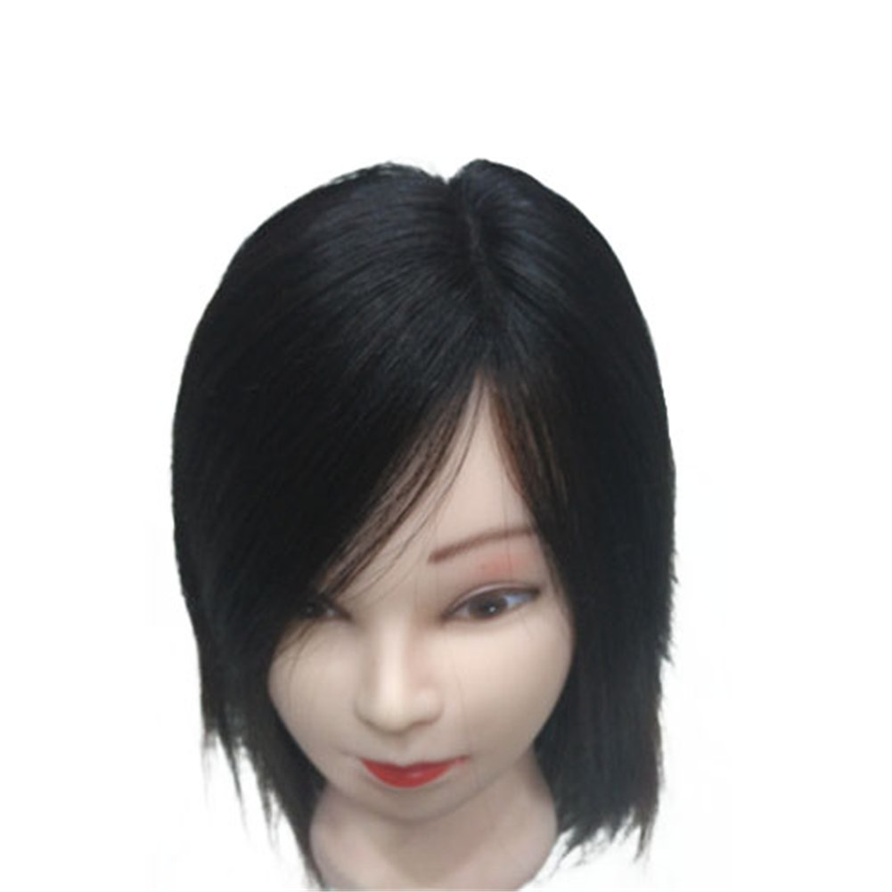 Remeehi 7*11cm 100% Real Human Hair Toppers Side Part Clip in on Top Pieces for Thinning White Hair Nature Black 15cm