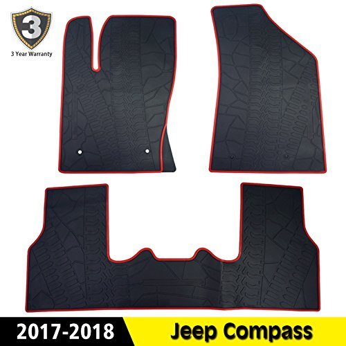 All Weather Floor Mats Floor Liners Cab Front & Rear Rubber Mat Fit Jeep Compass (Liner Jeep Compass)