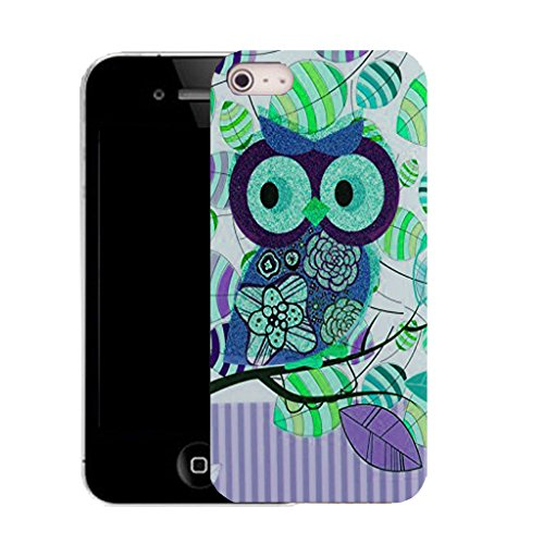 Mobile Case Mate IPhone 4 clip on Silicone Coque couverture case cover Pare-chocs + STYLET - purple leaf owl pattern (SILICON)