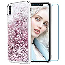 Maxdara Case for iPhone Xs Max Glitter Case [Tempered Glass Screen Protector] Floating Liquid Bling Sparkle Luxury Pretty Fashion Cute Girls Women XS Max Case 6.5 inch (Rosegold)