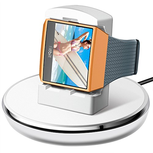 EPULY Fitbit Ionic Charger White New Compatible Fitbit Ionic Accessories Women Men Charging Stand/Dock/Station/Holder/Cradle with 3 Charging Cable for Fitbit Ionic Smartwatch, White