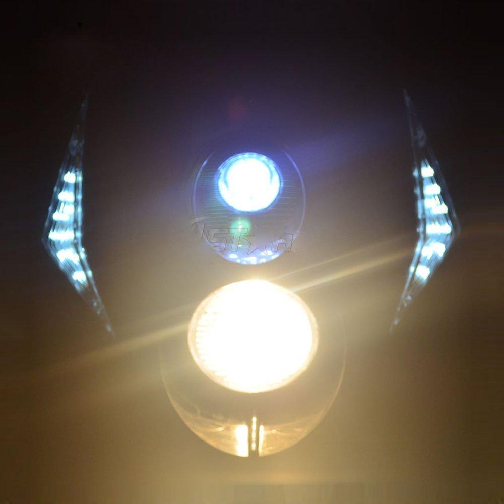 JFGRACING Universal H3 12V 35W Hal/ógeno LED Faro de Motocicleta Doble Luces Cabeza L/ámpara con Luces LED de Giro para Dirt Pit Bike Super Motard Blanco