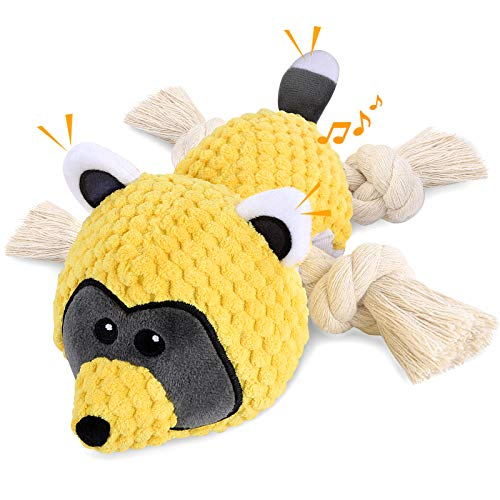 LUOAIYI Plush Dog Toys, Interactive Squeaky Dog Toys with Crinkle Paper Sturdy Raccoon Dog Chew Toys, Stuffed Dog Toy…
