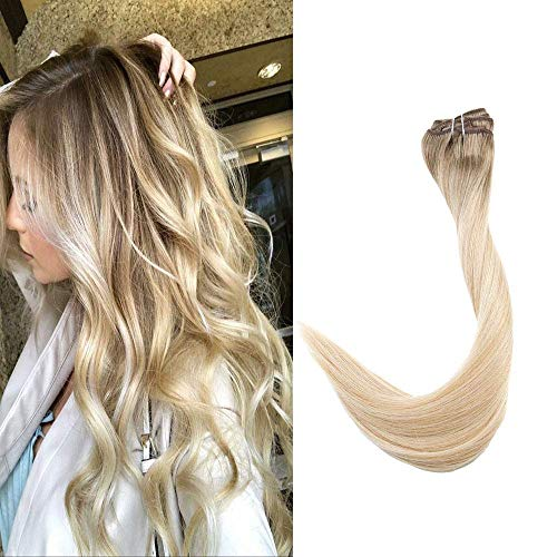 Full Shine 22 inch Clip in Balayage Remy Hair Extensions 100gram 7Pcs Per Set 100% Remy Human Hair Extensions Color #6 Fading to #27 Honey Blonde and #60 White Blonde