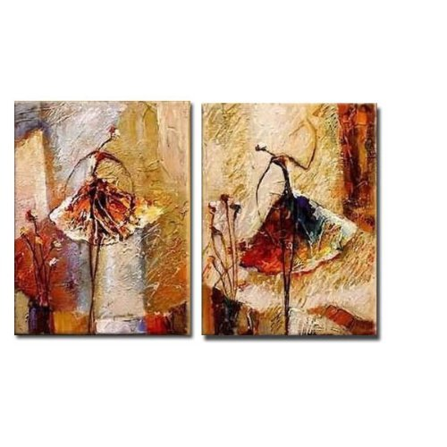 Wieco Art 100% Hand Painted Oil Paintings Ballet Dancers 2 Piece Oil Paintings on Canvas Modern Wall Art for Home Decoration Free Shipping Gallery Wrapped Ready to Hang III Others