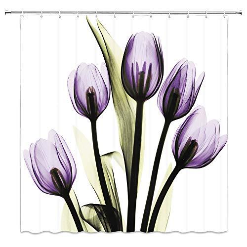 Purple Tulip Shower Curtain, Modern Art Durable Shower Curtains for Bathroom 12 Hooks 60x72 Inch