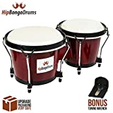 """Bongo Drum Set for Adults Kids Beginners Professionals - Set of 6"""" and 7"""" Tunable Cherry Percussion Instruments Produce Great Sound - Natural Animal Hides Hickory Shells Wood Metal with Tuning Wrench"""