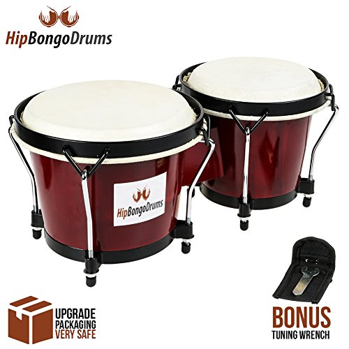 """Bongo Drum Set for Adults Kids Beginners Professionals [Upgraded Packaging] - Set of 6"""" and 7"""" Tunable Cherry Percussion Instruments - Natural Animal Hides Hickory Shells Wood Metal with Tuning Wrench"""