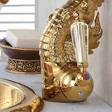 MENRYANG High-End Luxury Series of Pure Hand-Made Brass Dragon Shape Bathroom Sink Faucet - Gold by MENRYANG (Image #2)