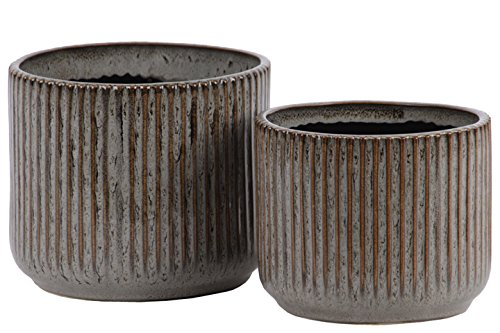 - Urban Trends 11443 Ceramic Round Pot with Ribbed Rust Effect, Gray