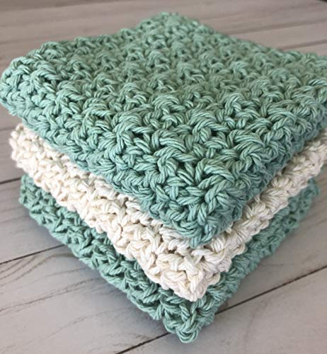 (Extra-large, 100% cotton, hand crocheted dishcloth; washcloth; potholder; scrubby; eco-friendly; seafood green and cream)