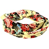4 Pack Headbands Vintage Elastic Printed Head Wrap Stretchy Moisture Hairband Twisted Cute Hair Accessories (Pink Black Navy Yellow)