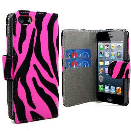 Accessory Master- Rose / Noir zebra conception la Housse étui en puCuir coque pour Apple iphone 5g