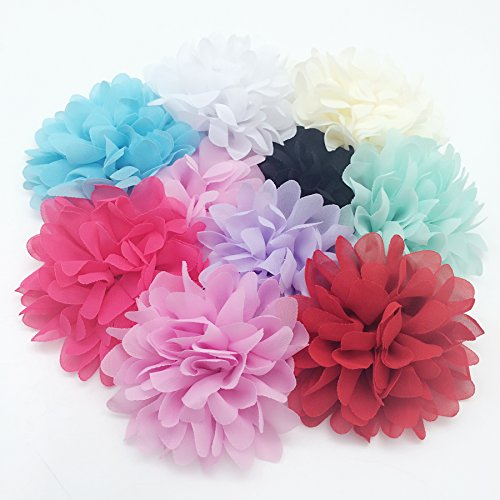 PEPPERLONELY 10PC Set 10 Colors Large Soft Chiffon Hair Flowers Fabric Flowers, 4 Inch by PEPPERLONELY