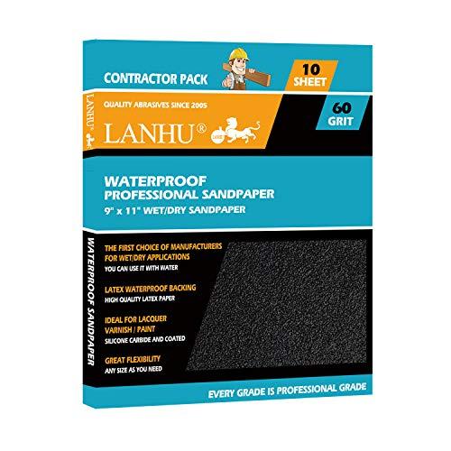 LANHU 60 Grit Sandpaper for Wood Furniture Finishing, Metal Sanding and Automotive Polishing, Dry or Wet Sanding, Multipurpose Sandpaper, 9 x 11 Inches, -