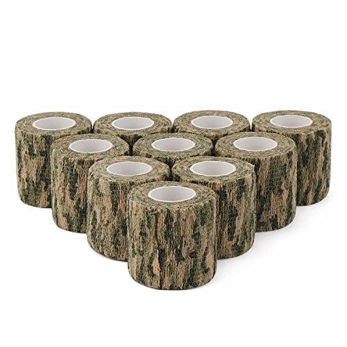 DROK 2.0in 14.76ft Washable Grass Camouflage Cohesive Bandage, 10 Rolls Nonwoven Fabric Self adhering Tape Vet Wrap, Camo Stealth Protective Tape for Flashlight Handle Hunting Accessories by DROK