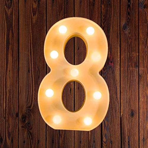 LED Marquee Number Lights Sign Light Up Marquee Letter Lights Sign for Night Light Wedding Birthday Party Battery Powered Christmas Lamp Home Bar Decoration 8 (Lighted Numbers Metal)