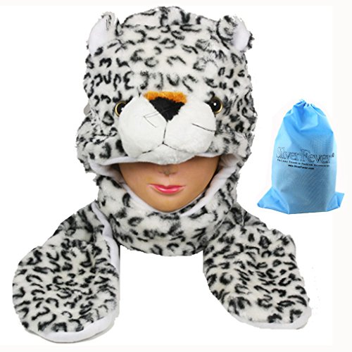 Silver Fever Plush Soft Animal Beanie Hat with Built-in Earmuffs, Scarf, Gloves White Leopard