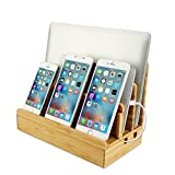 Bamboo Phone Charging Station Wood Desk Organizer Cord for Multi-Device iPhond iPad Tablets Laptops Macbook Stand Dock Station Holder with 3 Slots for Electronic Devices