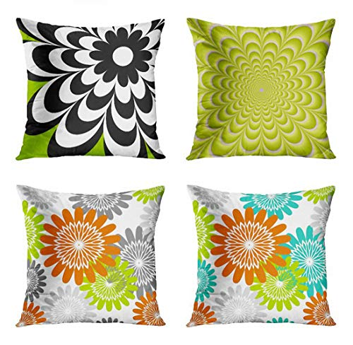 Violet Rosette - ArtSocket Set of 4 Throw Pillow Covers Colorful Modern Chic Daisy Lime Green Flower Floral Girly Fractal Violet Rosette Decorative Pillow Cases Home Decor Square 18x18 Inches Pillowcases