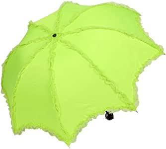 Ayygift High Quality Exquisite Retro Lace Romantic Folding Umbrella Sun UV Protection Travel Creative Woman Umbrella (fluorescent green)