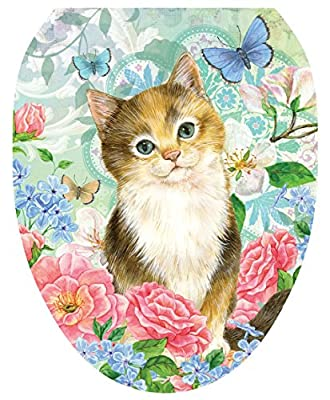 Toilet Tattoos, Toilet Seat Cover Decal,Soft Kitten, Size Elongated