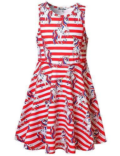 Little Girls USA Flag Unicorn Dresses 4th July Patriotic Party Summer Dresses ()