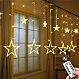 ALOVECO Star Curtain Lights, 12 Stars 138 LED Window Curtain String Lights with Remote, 8 Flashing Modes Star String Lights for Christmas Party Wedding Home